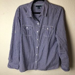 Tommy Hilfiger Gingham Button Front Top XL